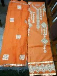 Orange Ladies Cotton Dress Material