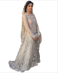Grey Color Stone Work Bridal Gown