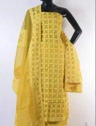 Craftola Unstitched Applique Work Dress Materials Cotton Fabric