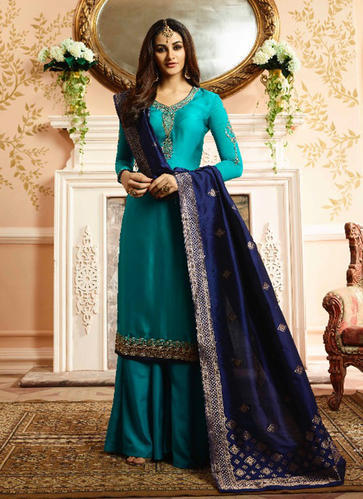 426be07ab642 Georgette Green Party Wear Palazzo Suits, Rs 1745 /piece, Surat ...