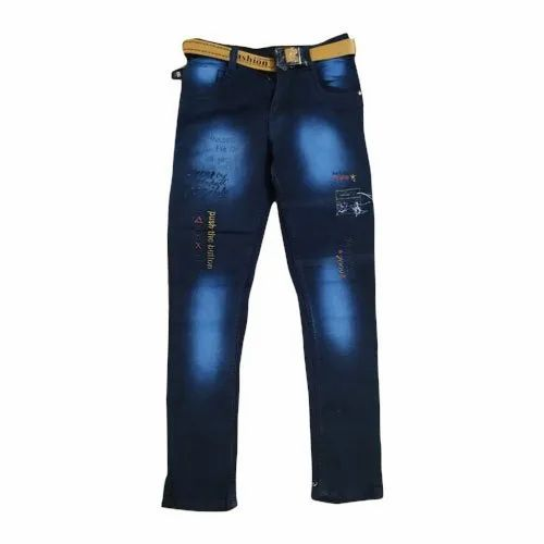 Denim Party Wear Kids Fancy Jeans, Machine wash