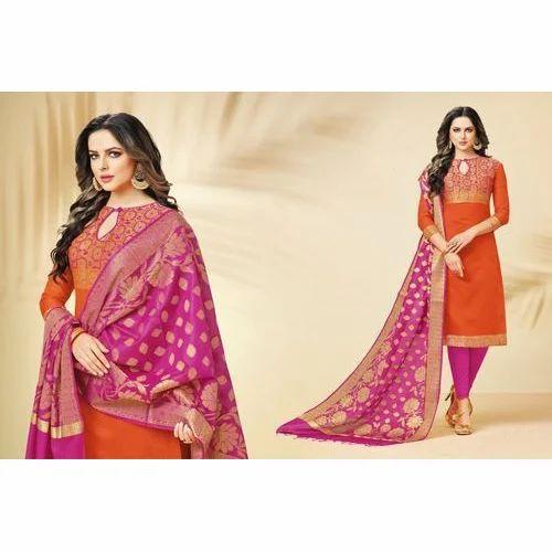 c53201ad71f Ladies Chanderi Designer Party Wear Suit