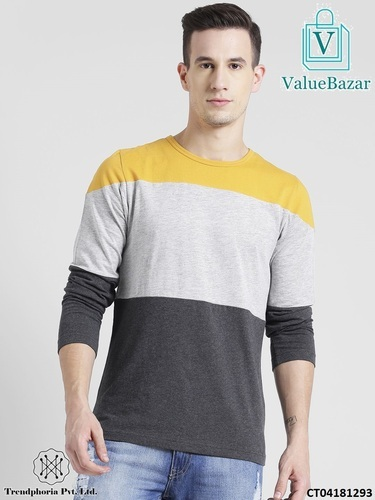 COLOR BLOCK FULL SLEEVE T-SHIRT FOR MEN at Rs 300  piece  3676ea249