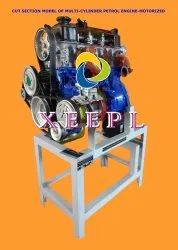 Cut Section Model of Multi Cylinder Petrol Engine Motorized