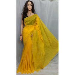 Yellow Box Handloom Silk Saree
