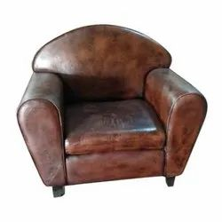 Wooden,Leather 18 Inch Modular Leather Single Seater Sofa