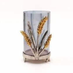 Natural Floral metal glass decor, For Decoration, Size: 8 Inch
