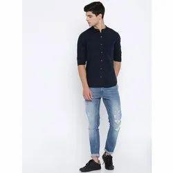 Linen Knitted Collar Mens Black Shirt