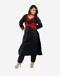 Free Size Black Embroidered Silk Kurti