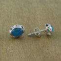 Silver Beautiful Blue Chalcedony Gemstone Stud Earring