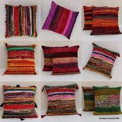 Indian Handmade Chindi  Cushion Cover