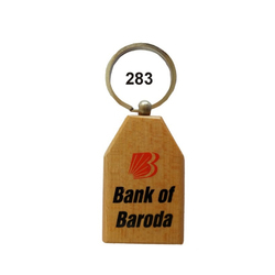 Wooden Screen Printing Keychain