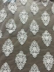 Grey Embroidered Net Fabric