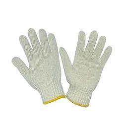 白色纯棉针织手手套55克,为工业,尺寸:中等