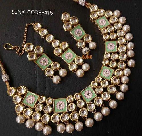 Satyam Jewellery Nx Multocolor Traditional Designer Green Pearl