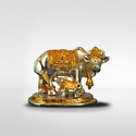 Golden (gold Plated) Brass Cow And Calf