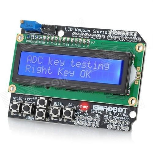 1602 LCD Board Keypad Shield Blue Backlight For Arduino Duemilanove Robot NEW