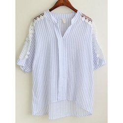 Alpha Strips Ladies Cotton Woven Shirt, Size: S-XXL