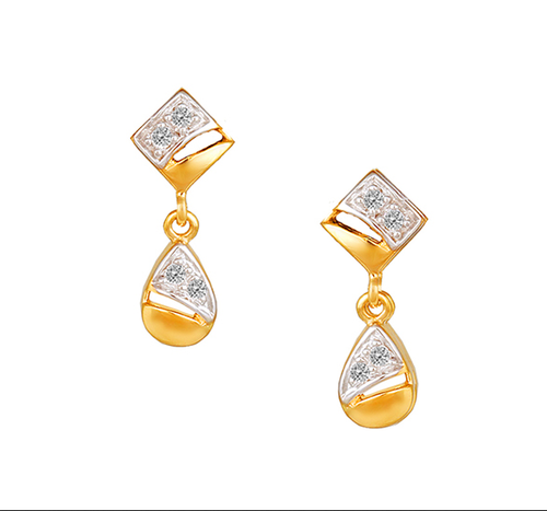 Tanishq 18kt Yellow Gold Diamond Drop Earrings