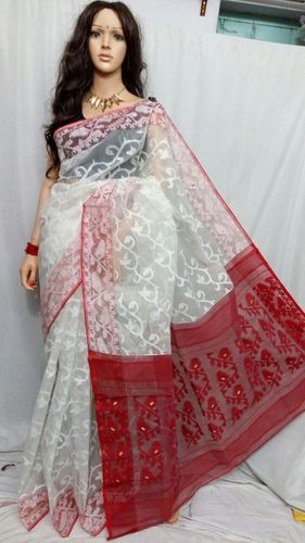 aaaea352610 Jamdani Handloom Silk Cotton Blend Sari (White and Red) at Rs 2100 ...
