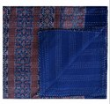 Indian Kantha Quilt Ajrakh Block Print Fabric Cotton Bedspread