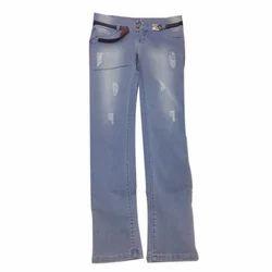 Denim Solid Ladies Ripped Jeans