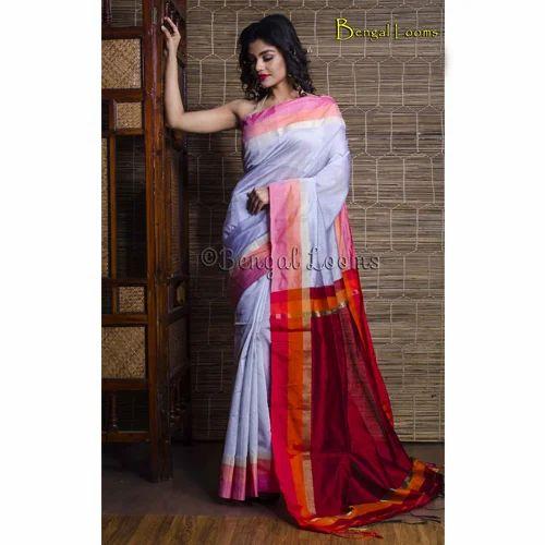 f299189b2d Khadi Soft Cotton Saree in Gray and Maroon, खादी साड़ी ...