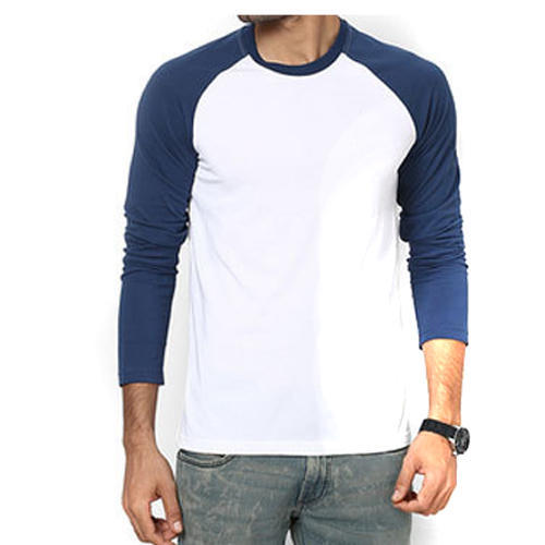 f80a66370 Blue and White Cotton Men  s Full Sleeve T-Shirt