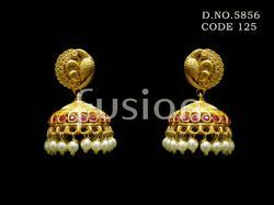 Antique Polki Ruby Traditional Earrings
