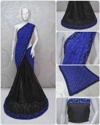 Georgette Embroidered Half And Half Pattern Designer Saree