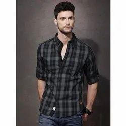 Checks Long Sleeve Mens Full Sleeve Cotton Shirt, Size: M to XXL