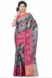 Grey Organza Zari Work Banarasi Saree