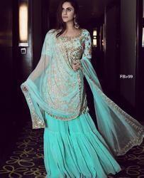 Wedding Wear Indian Ethnic Designer Georgette Party Wear Sky Blue Sharara