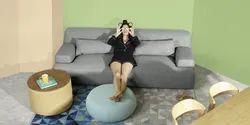 Godrej Wooden Sofa- Liberty Sofa - Grey, For Home, Living Room