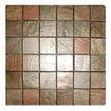 Copper Polished Slate Stone Wall Cladding Mosaic Tile, Thickness: 10 - 12 Mm