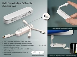 swiss knife shape White Multi Connector Data Cable