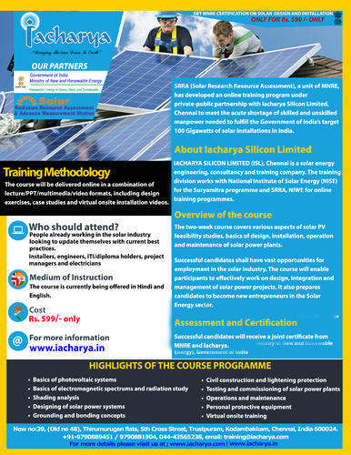 Solar Online Training with MNRE Certification Manufacturer from Chennai