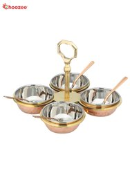 Copper / Stainless Steel Condiment Pickle Set with Spoon - 4 Pcs