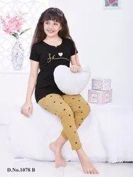 Cotton Regular Wear KuuKee 1078 Kids NightWear Girls, T-Shirt,Pajama, Age Group: 4-16 Year