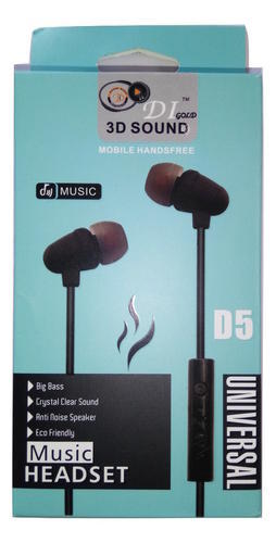 D5 Universal 3D Sound Bass Effect Earphone for Smartphone with Mic