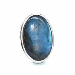 Natural Blue Flashy Labradorite Gemstone Solid 92.5 Sterling Silver Unisex Ring