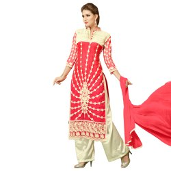 Pink Colored Semi Stitched Salwar Suit