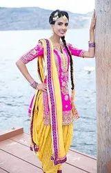 Yellow Silk Punjabi Dress