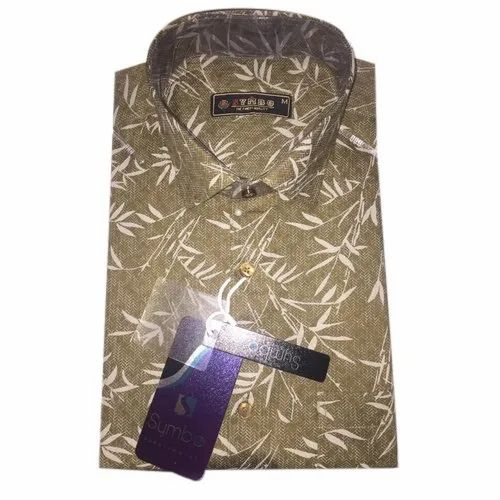 Olive Green Cotton Mens Party Wear Printed Designer Shirt