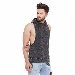 Cotton Men Acid Washed Hooded Stringer Vest