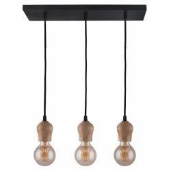 3 Linear Cluster Natural Edison Filament Wooden Bubble Holder Chandelier Lamp, Pendant Light