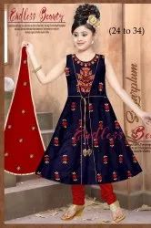 24 To 34 Red And Blue Girls Dress Dupatta Work