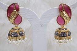 Color Stone Peacock Jhumki Earring