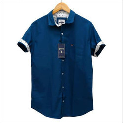 Men Cotton Half Sleeve Blue Shirt, Size: 42