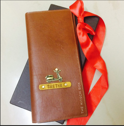 Faux Leather Brown Name Personalized Travel Wallet